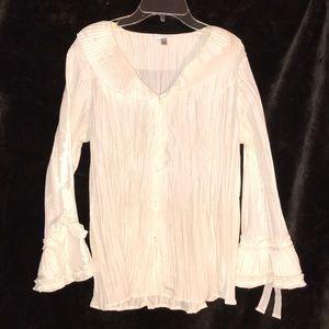 Ladies white button down  textured blouse